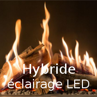 OPTION Cheminée gaz – Option Hybride éclairage LED